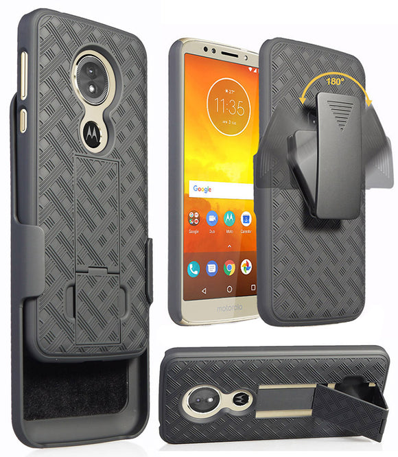 Black Kickstand Case Cover + Belt Clip Holster for Motorola Moto G6 Play/Forge