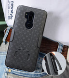 Black Rubberized Case Kickstand Cover + Belt Clip Holster for LG G7 ThinQ G7+