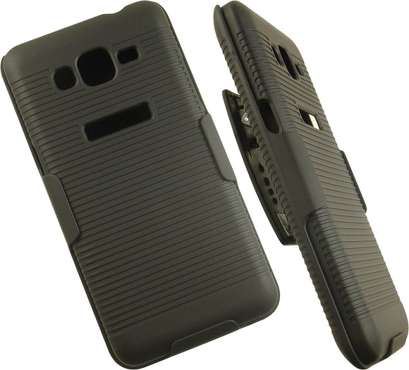 BLACK RIBBED HARD CASE BELT CLIP HOLSTER STAND FOR SAMSUNG GALAXY GRAND PRIME