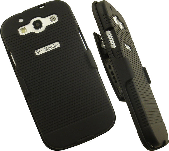 BLACK RUBBERIZED HARD CASE + BELT CLIP HOLSTER STAND FOR SAMSUNG GALAXY S3 III