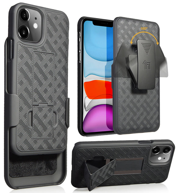 Black Case Kickstand Cover + Belt Clip Holster Holder for Apple iPhone 11