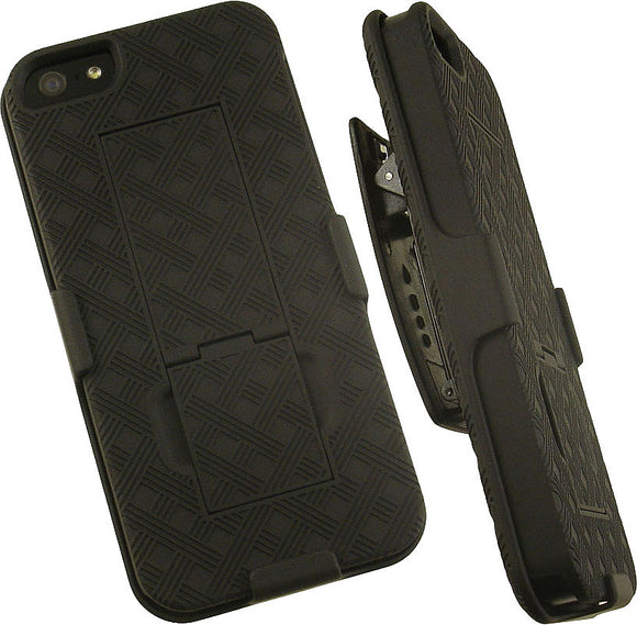 BLACK KICKSTAND HARD CASE COVER + BELT CLIP HOLSTER STAND FOR APPLE iPHONE 5 5s