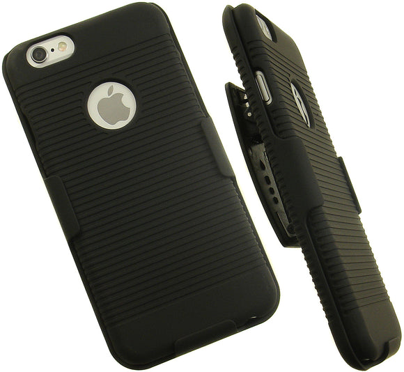 BLACK RIBBED HARD SHELL CASE + BELT CLIP HOLSTER HOLDER FOR APPLE iPHONE 6 6s