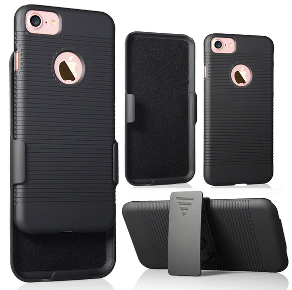 NCP BLACK RIBBED RUBBERIZED CASE COVER + BELT CLIP HOLSTER STAND FOR iPHONE 7/8