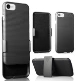 BLACK RIBBED RUBBERIZED CASE COVER + BELT CLIP HOLSTER STAND FOR iPHONE 7/8