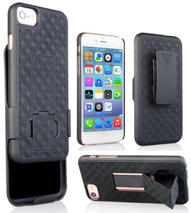 BLACK RUBBERIZED KICKSTAND CASE + BELT CLIP HOLSTER STAND FOR APPLE iPHONE 7/8