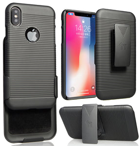Black Ribbed Hard Case Cover + Belt Clip Holster Combo for Apple iPhone X / 10