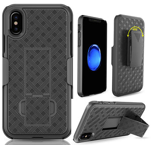 Black Kickstand Case Cover + Belt Clip Holster Combo for Apple iPhone X / 10
