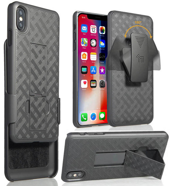 Black Case Kickstand Cover + Belt Clip Holster for Apple iPhone Xs/X/10/10s