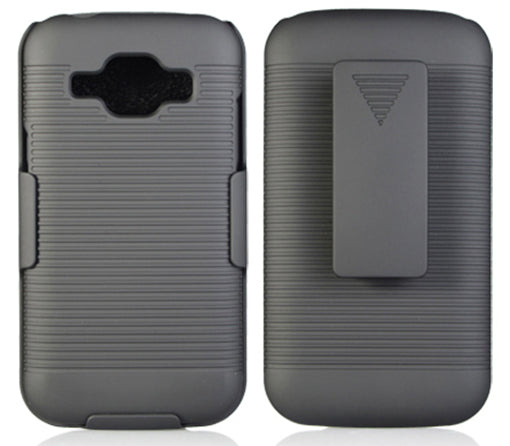 BLACK HARD CASE COVER + BELT CLIP HOLSTER FOR AT&T SAMSUNG GALAXY EXPRESS 3