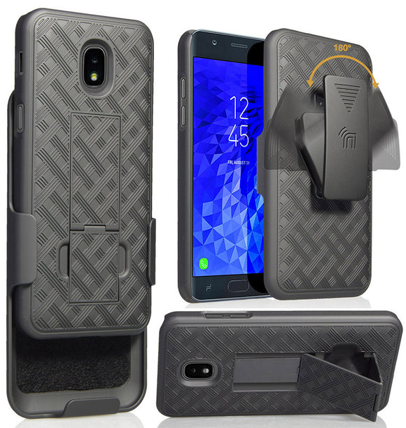 Black Case Cover + Belt Clip for Samsung Galaxy J7 2018 Star/Refine/Aero/Crown