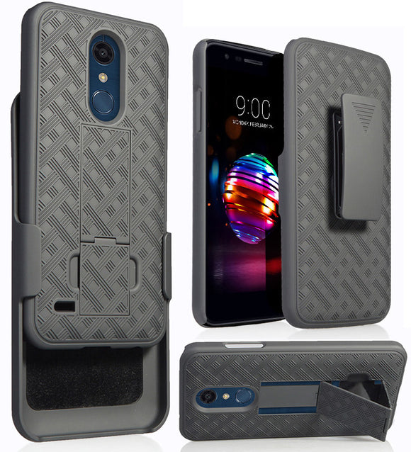 Black Case + Belt Clip Holster for LG K30, Phoenix Plus, Premier Pro, Harmony 2