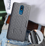 Black Case Kickstand Cover and Belt Clip Holster Combo for LG Xpression Plus 2