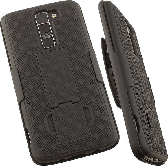 BLACK KICKSTAND CASE COVER + BELT CLIP HOLSTER FOR LG TRIBUTE 5, TREASURE, K7