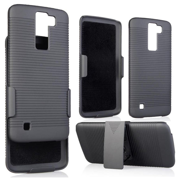 BLACK RIBBED HARD CASE + BELT CLIP HOLSTER STAND FOR LG PHOENIX-2, K8, ESCAPE-3