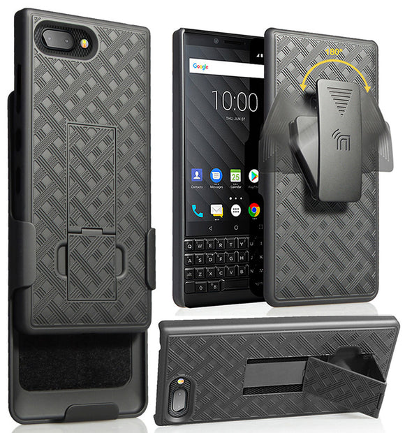 Black Rubberized Case Kickstand Cover + Belt Clip Holster for BlackBerry Key2