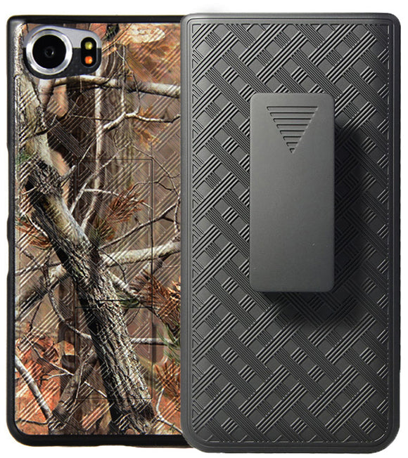 Camo Leaf Tree Woods Kickstand Case + Belt Clip Holster for BlackBerry KEYone