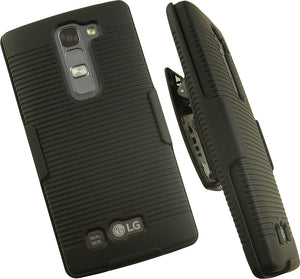 BLACK HARD CASE COVER + BELT CLIP HOLSTER STAND FOR BOOST MOBILE LG VOLT-2 LS751