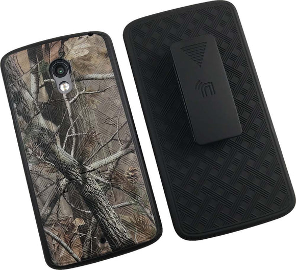 Camo Leaf Tree Kickstand Case + Belt Clip Holster for Motorola Droid Maxx 2