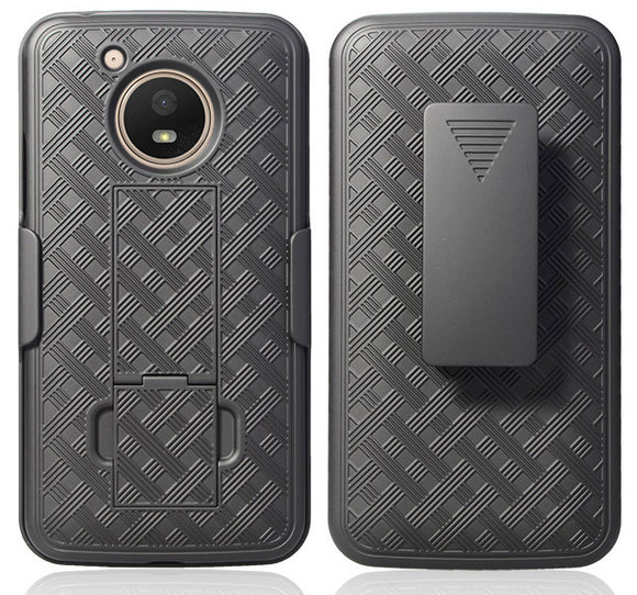 Black Kickstand Case Cover + Belt Clip Holster Combo for Motorola Moto E4