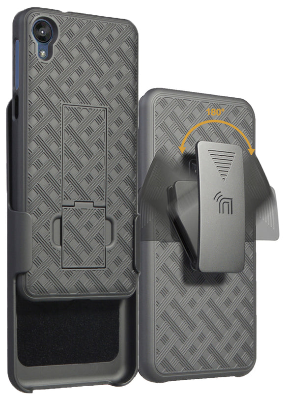 Black Case Kickstand Cover + Belt Clip Holster Holder Combo for Motorola Moto E6