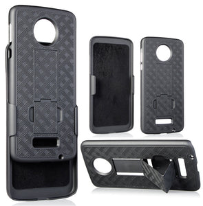 BLACK KICKSTAND CASE COVER + BELT CLIP HOLSTER FOR MOTOROLA MOTO Z (XT1650-01)
