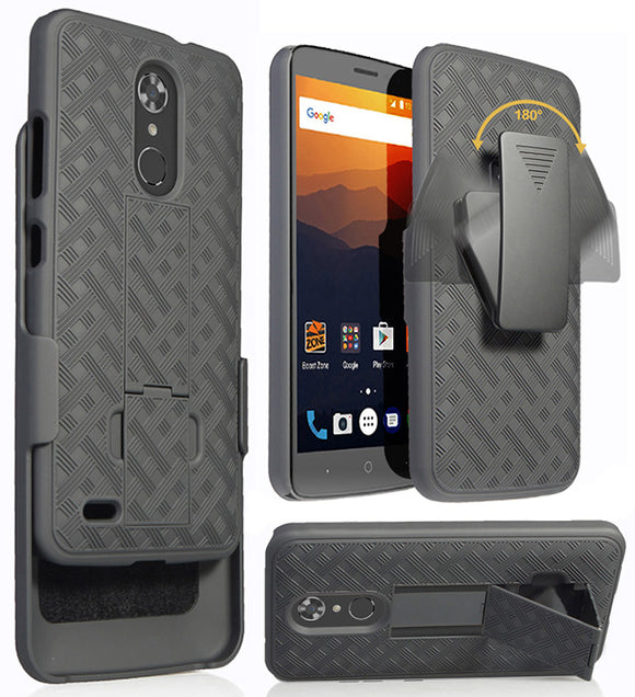 Black Kickstand Case Cover + Belt Clip Holster for ZTE Max Duo 4G LTE (Z963VL)
