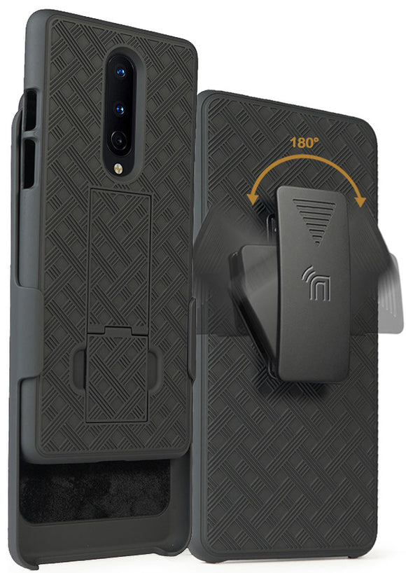 Kickstand Case Slim Hard Shell Cover and Belt Clip Holster for OnePlus 8 Phone