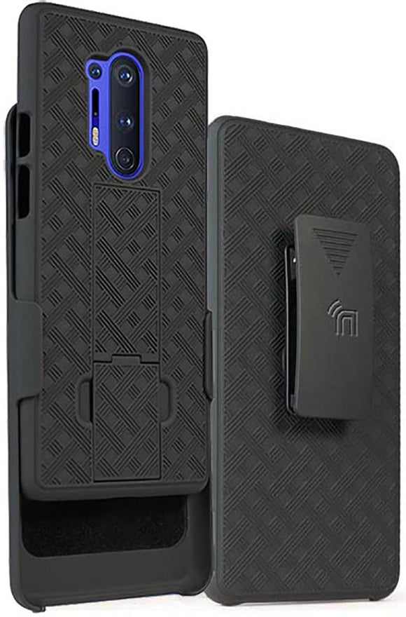 Black Case Kickstand Cover and Belt Clip Holster Holder Combo for OnePlus 8 Pro