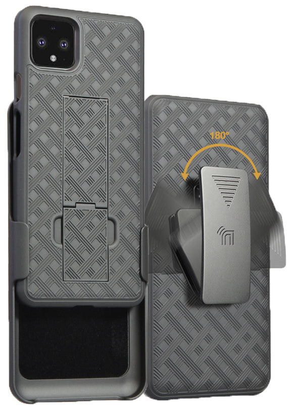 Black Case Kickstand Cover + Belt Clip Holster Holder Combo for Google Pixel 4