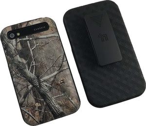 Camo Leaf Tree Kickstand Case + Belt Clip Holster for BlackBerry Classic Q20
