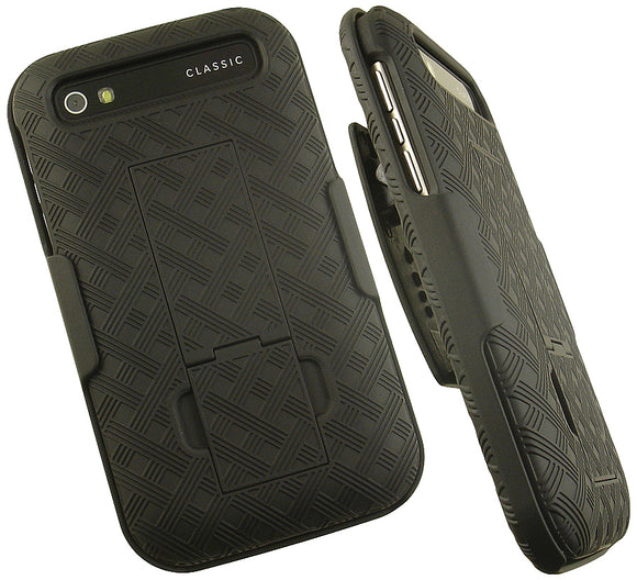 BLACK KICKSTAND HARD CASE COVER + BELT CLIP HOLSTER FOR BLACKBERRY CLASSIC Q20