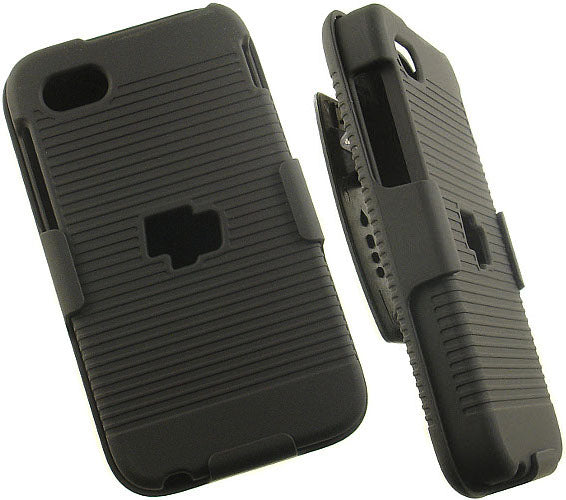 BLACK RUBBERIZED HARD CASE BELT CLIP HOLSTER STAND FOR AT&T BLACKBERRY Q5 PHONE