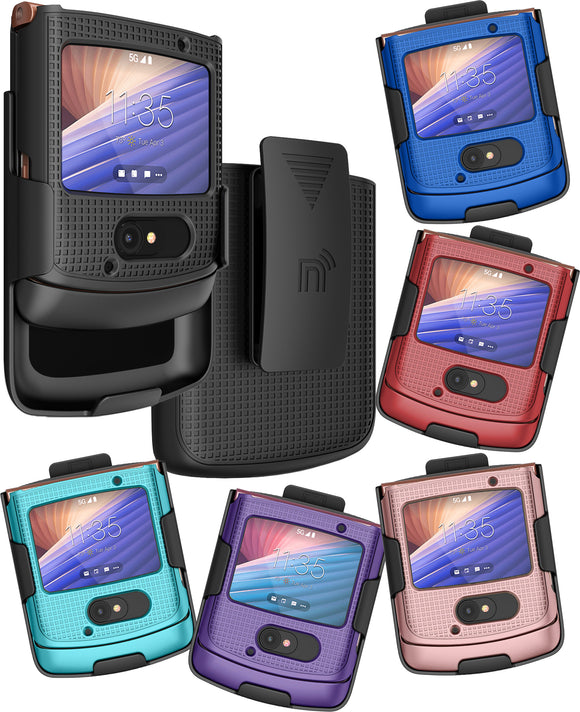 Hard Case Cover + Belt Clip Holster Combo for Motorola RAZR 5G Flip Phone (2020)