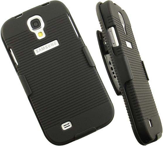 BLACK RUBBERIZED HARD CASE + BELT CLIP HOLSTER STAND FOR GALAXY S4 S IV PHONE