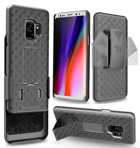 Black Kickstand Case Cover + Belt Clip Holster for Samsung Galaxy S9, SM-G960