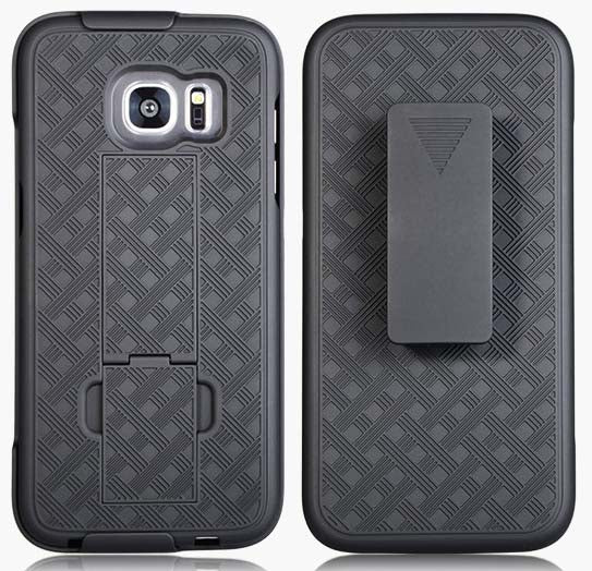 BLACK KICKSTAND CASE COVER + BELT CLIP HOLSTER STAND FOR SAMSUNG GALAXY S7 EDGE