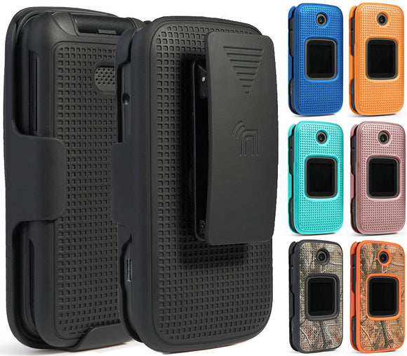 Hard Protector Case Cover and Belt Clip Holster for Alcatel Smartflip, Go Flip 3