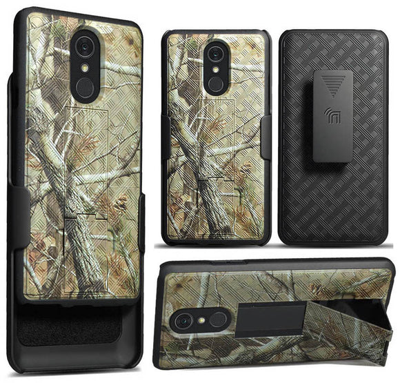 Camo Tree Woods Case Kickstand Cover Belt Clip Holster for LG Q Stylus, Stylo 4