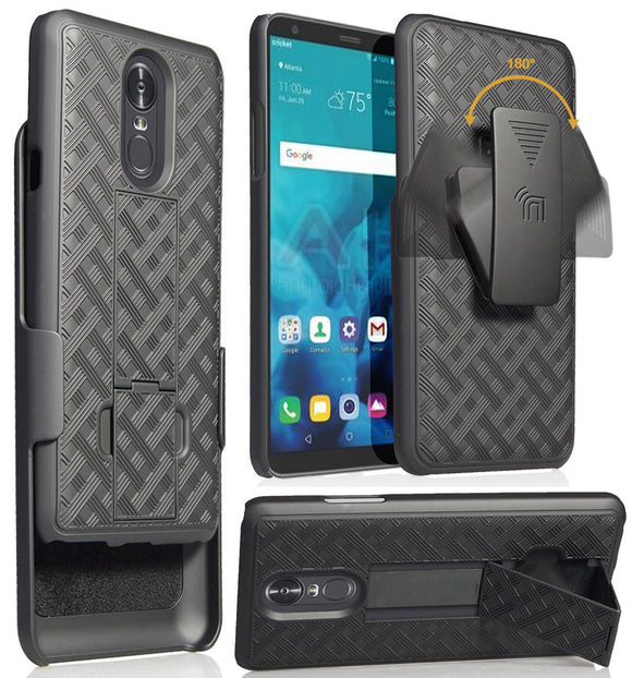 Black Ribbed Case Kickstand Cover + Belt Clip Holster for LG Stylo 4, Q Stylus