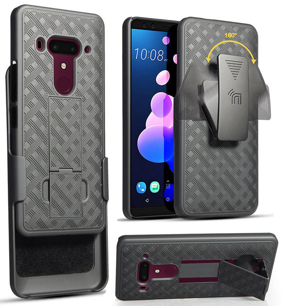 Black Rubberized Case Kickstand Cover + Belt Clip Holster for HTC U12 Plus U12+