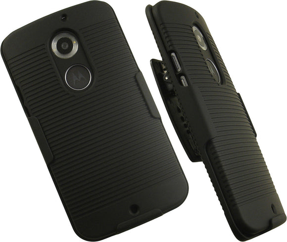 Black Ribbed Case Cover and Belt Clip Holster for Motorola Moto X 2nd Gen (2014)