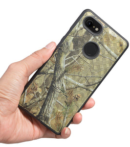 Outdoor Camo Tree Real Woods Leaf Case Stand Cover for Google Pixel 3 XL (3XL)