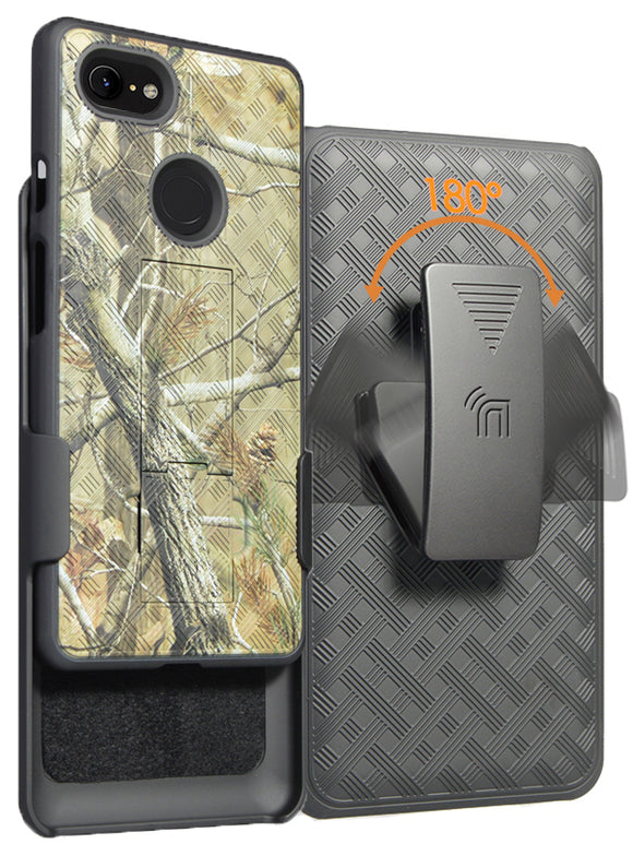 Camo Tree Real Woods Case Kickstand Cover Belt Clip for Google Pixel 3 XL, 3XL