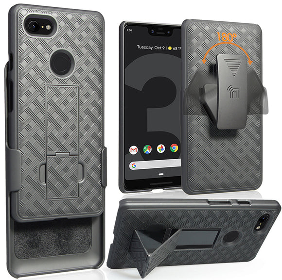 Black Kick-Stand Case Hard Cover + Belt Clip Holster for Google Pixel 3 XL, 3XL