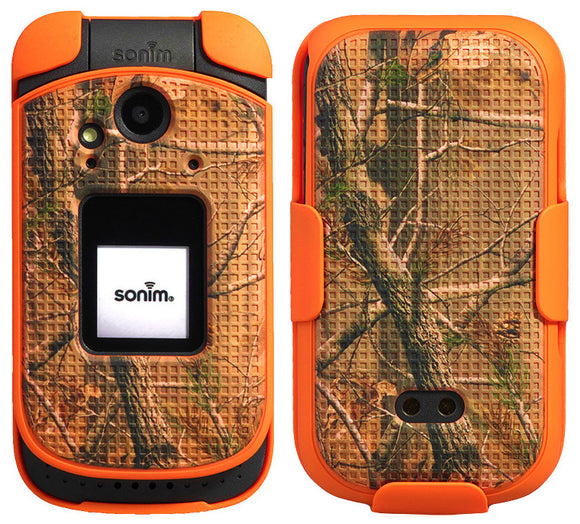 Orange Camo Tree Real Woods Case + Belt Clip Holster for Sonim XP3 (XP3800)