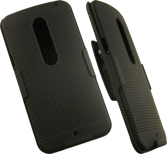 BLACK CASE COVER + BELT CLIP HOLSTER STAND FOR MOTOROLA MOTO X PURE EDITION 2015