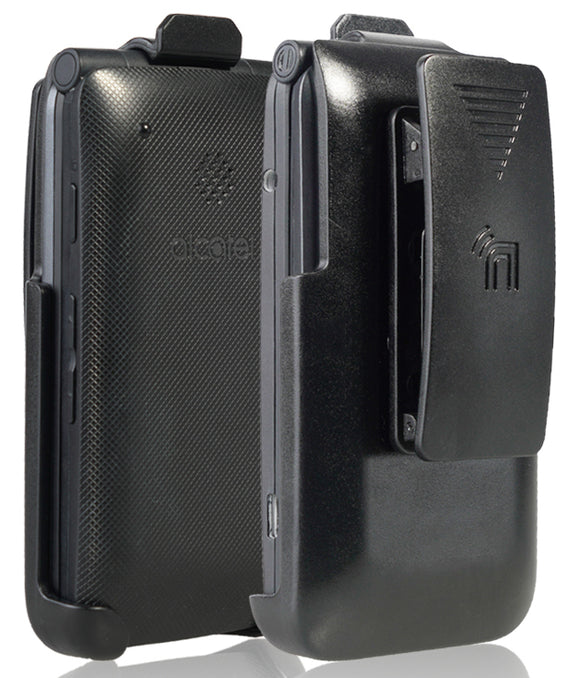 Black Belt Clip Holster Case for Alcatel Go Flip V, MyFlip, QuickFlip, A405DL