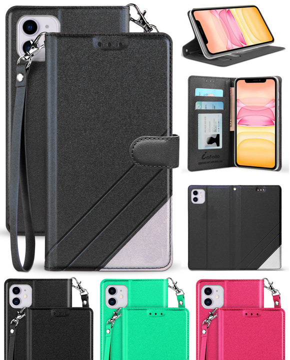Infolio Wallet Case Credit Card Slot Cover Wrist Strap for Apple iPhone 11