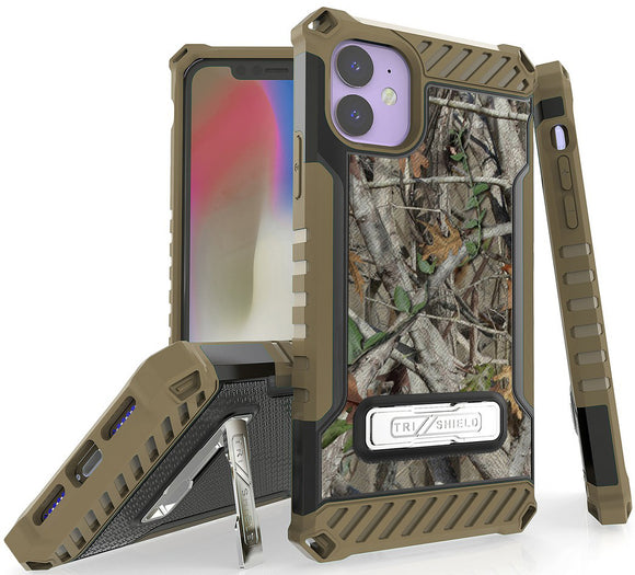 Autumn Camo Tree Real Woods Case Rugged Cover Stand for Apple iPhone 11